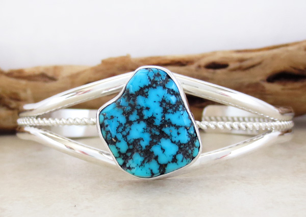 Navajo Made Turquoise Nugget & Sterling Silver Bracelet - 3415at