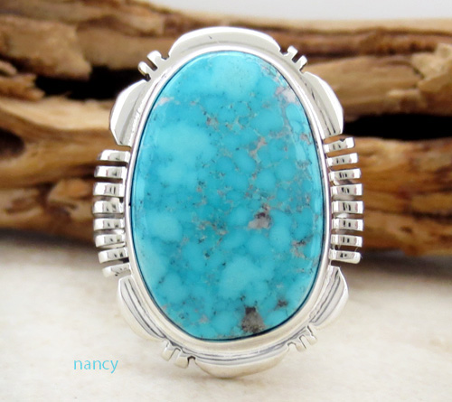 Turquoise & Sterling Silver Ring size 9 Navajo Jewelry - 3426at