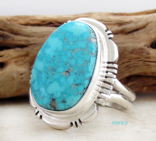 Image 1 of  Turquoise & Sterling Silver Ring size 9 Navajo Jewelry - 3426at
