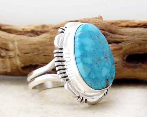 Image 2 of  Turquoise & Sterling Silver Ring size 9 Navajo Jewelry - 3426at