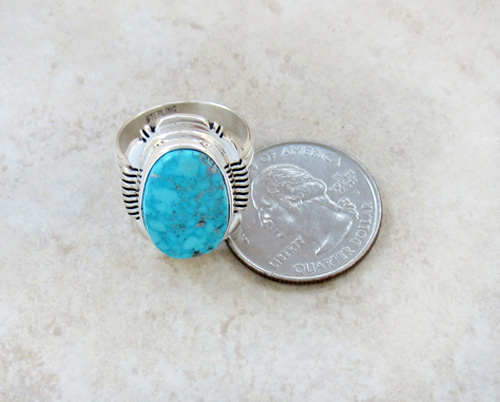 Image 4 of  Turquoise & Sterling Silver Ring size 9 Navajo Jewelry - 3426at