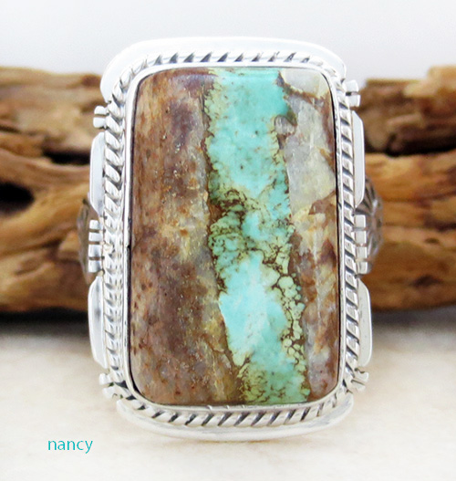 Boulder Ribbon Turquoise & Sterling Silver Ring Size 7.75 Navajo - 3427sn
