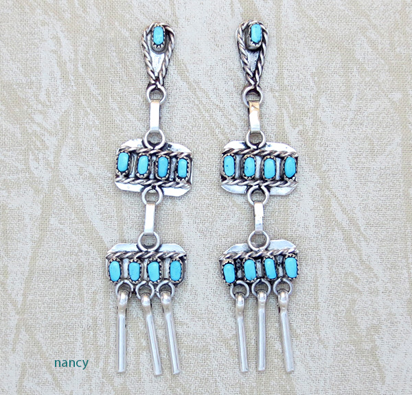 Zuni Made Turquoise & Sterling Silver Earrings - 3175nm
