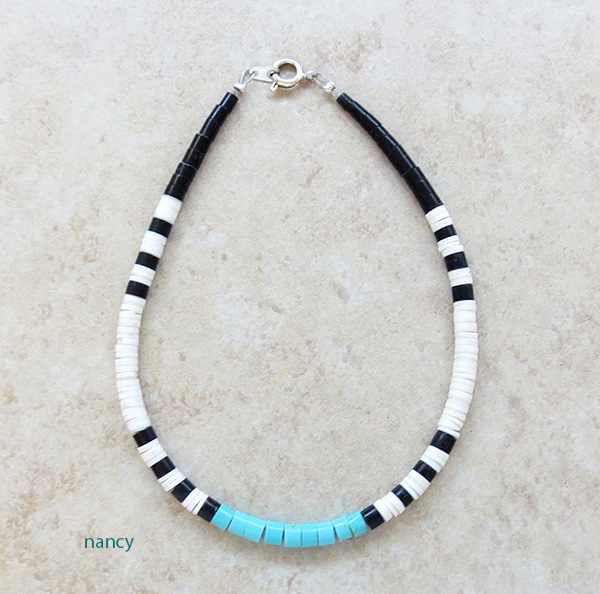 Turquoise Heishi Ankle Bracelet Santo Domingo - 3507rio