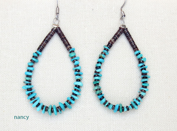 Image 0 of  Classic Turquoise & Heishi Earrings Jeanette Calabaza Kewa - 3208rio