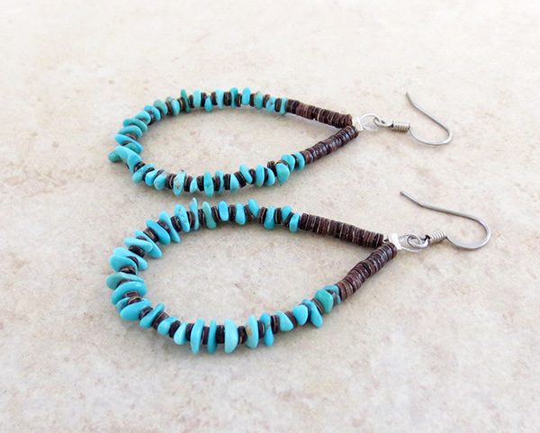 Image 1 of      Classic Turquoise & Heishi Earrings Jeanette Calabaza Kewa - 3208rio