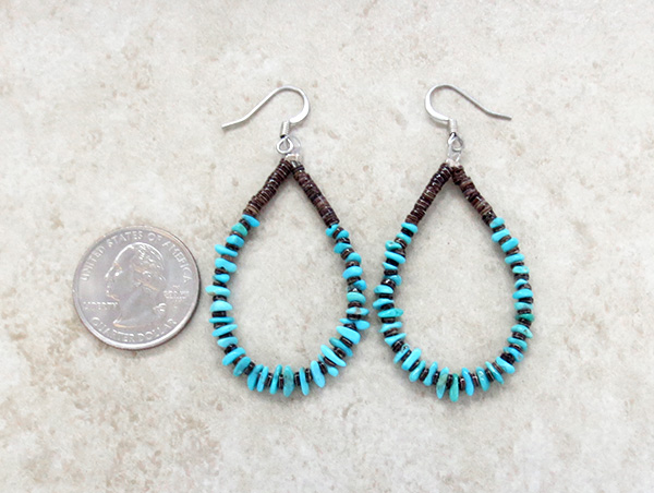 Image 2 of      Classic Turquoise & Heishi Earrings Jeanette Calabaza Kewa - 3208rio