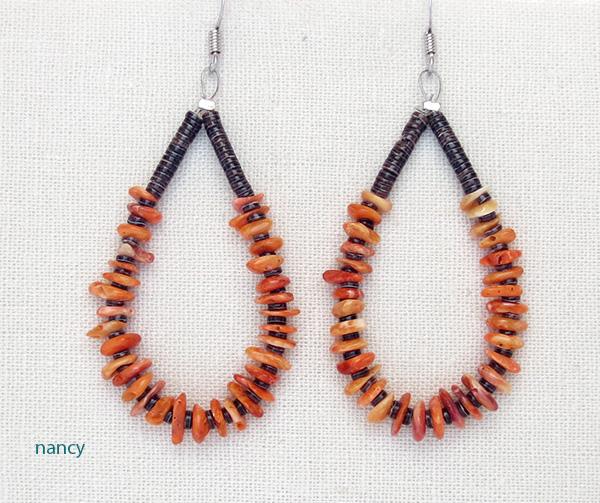 Orange Spiny Oyster & Heishi Earrings Kewa J Calabaza - 3184rio