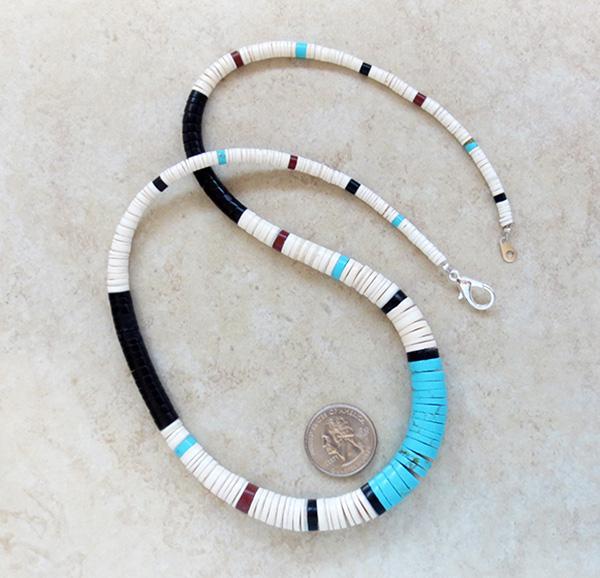 Graduated Turquoise Jet White Shell Heishi Necklace 24 Kewa - 3508rio