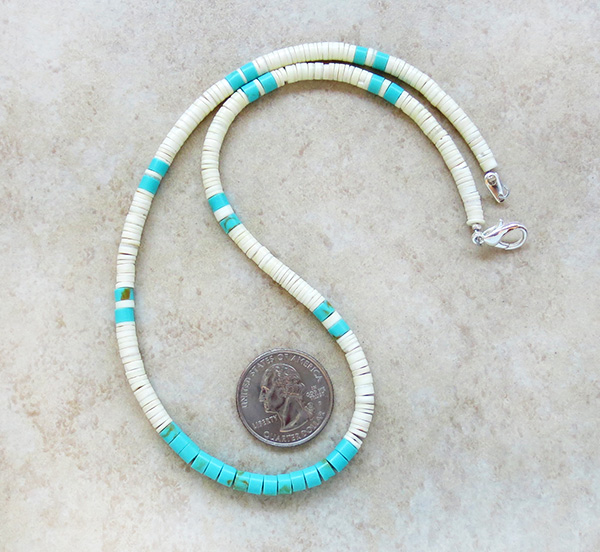 Image 0 of Turquoise White Shell Heishi Necklace Santo Domingo Jewelry- 3186rio