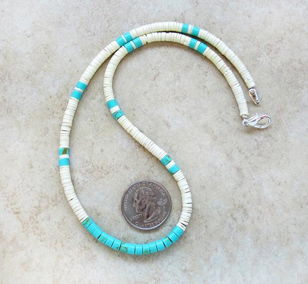 Turquoise White Shell Heishi Necklace Santo Domingo Jewelry- 3186rio