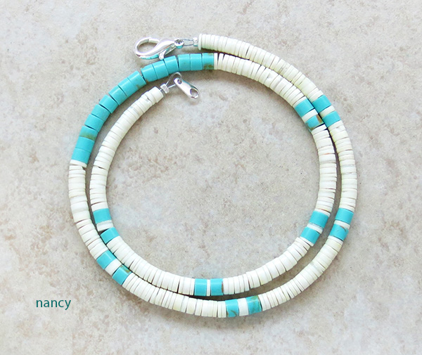 Image 1 of Turquoise White Shell Heishi Necklace Santo Domingo Jewelry- 3186rio