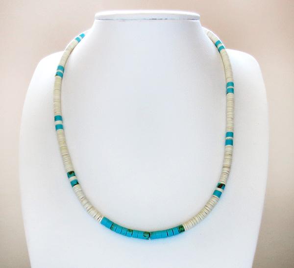 Image 2 of Turquoise White Shell Heishi Necklace Santo Domingo Jewelry- 3186rio