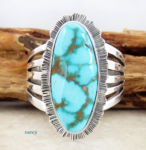 Turquoise Mountain Turquoise & Sterling Silver Ring Size 9.5 L Piaso - 2582sn
