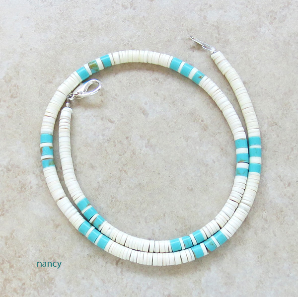Turquoise White Shell Heishi Necklace Santo Domingo Jewelry - 3509rio