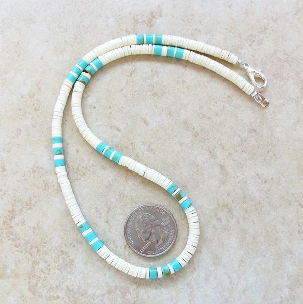 Image 1 of  Turquoise White Shell Heishi Necklace Santo Domingo Jewelry - 3509rio