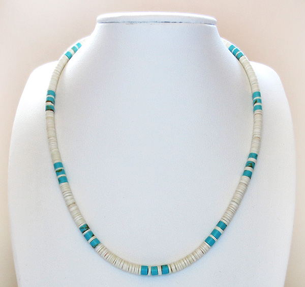 Image 2 of  Turquoise White Shell Heishi Necklace Santo Domingo Jewelry - 3509rio