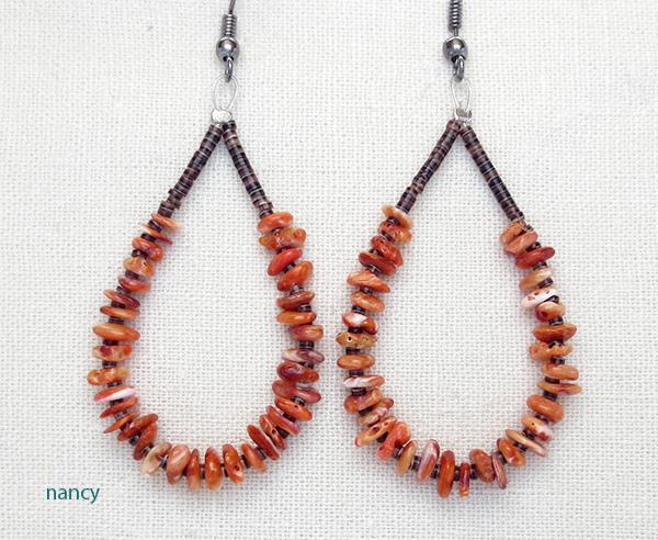 Orange Spiny Oyster & Heishi Earrings Kewa J Calabaza - 3518rio