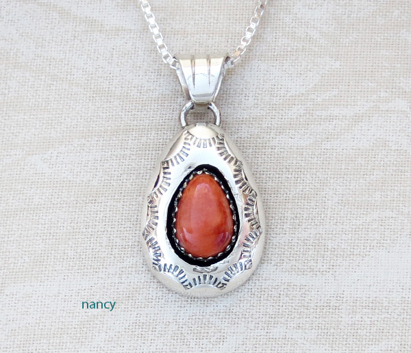 Image 0 of  Navajo Made Small Orange Spiny Oyster & Sterling Silver Pendant - 3437rio