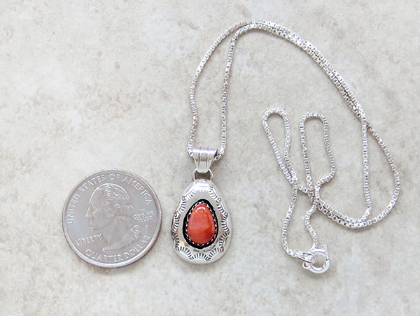 Image 1 of  Navajo Made Small Orange Spiny Oyster & Sterling Silver Pendant - 3437rio