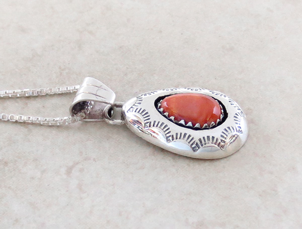 Image 2 of  Navajo Made Small Orange Spiny Oyster & Sterling Silver Pendant - 3437rio