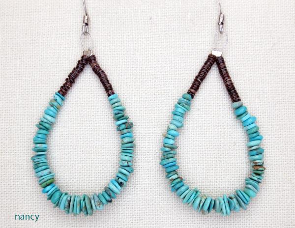 Turquoise & Heishi Earrings Jeanette Calabaza Kewa - 3225rio
