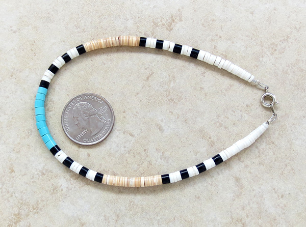 Image 1 of Turquoise Heishi Ankle Bracelet Santo Domingo Kewa - 3439rio