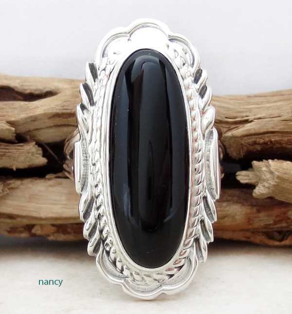 Black Onyx & Sterling Silver Ring Size 9 Navajo Made - 3227at