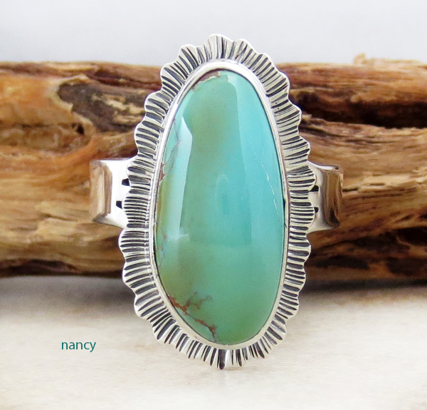 Royston Turquoise & Sterling Silver Ring size 7 L Piaso - 2951sn