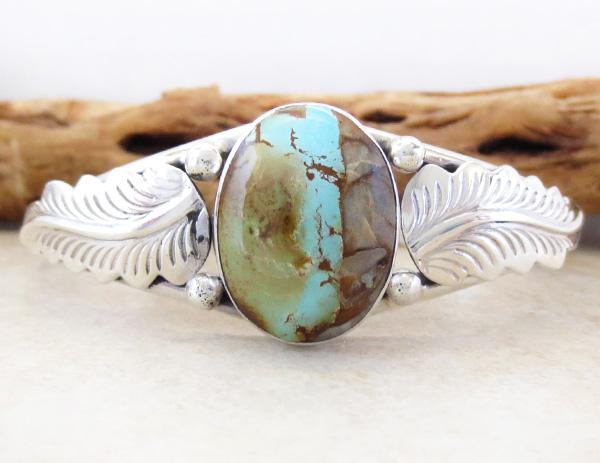 Image 0 of  Boulder Turquoise Ribbon & Sterling Silver Bracelet E Yazzie - 3520sn