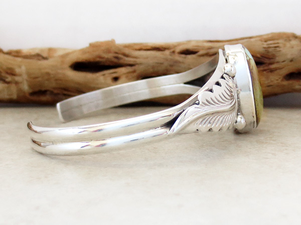 Image 2 of  Boulder Turquoise Ribbon & Sterling Silver Bracelet E Yazzie - 3520sn