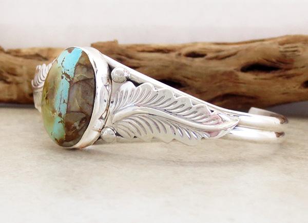 Image 3 of  Boulder Turquoise Ribbon & Sterling Silver Bracelet E Yazzie - 3520sn