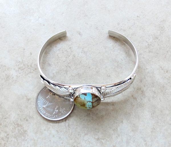 Image 4 of  Boulder Turquoise Ribbon & Sterling Silver Bracelet E Yazzie - 3520sn