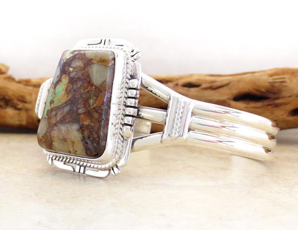 Image 3 of  Native American Jewelry Turquoise & Sterling Silver Bracelet - 3447sn