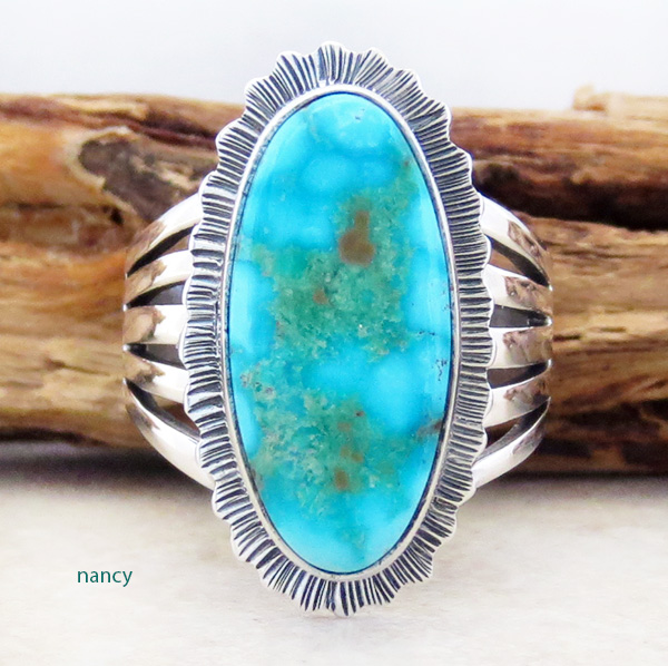 Turquoise Mountain Turquoise & Sterling Silver Ring Size 7.5 L Piaso - 3224sn