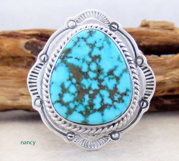 Native American Turquoise & Sterling Silver Ring Size 10.5 - 3285sn