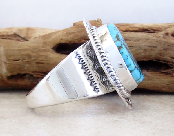 Image 1 of     Native American Turquoise & Sterling Silver Ring Size 10.5 - 3285sn