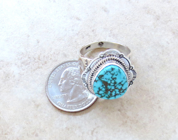 Image 3 of     Native American Turquoise & Sterling Silver Ring Size 10.5 - 3285sn