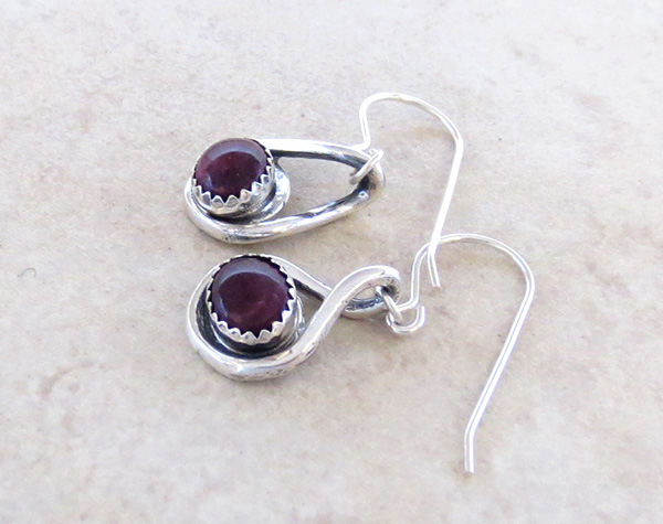 Image 1 of  Deep Purple Spiny Oyster & Sterling Silver Earrings Navajo - 3451sn