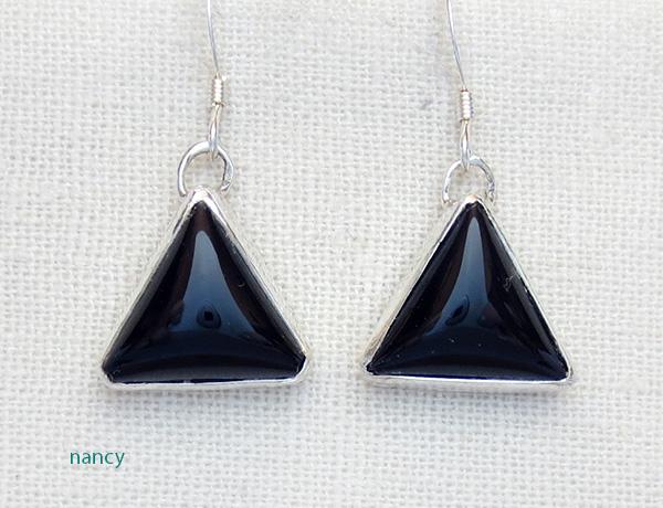 Black Onyx & Sterling Silver Earrings Navajo Made - 3528pl
