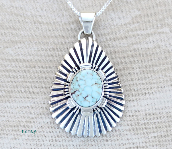 Dry Creek Turquoise & Sterling Silver Pendant Charlie Bowie - 3194at