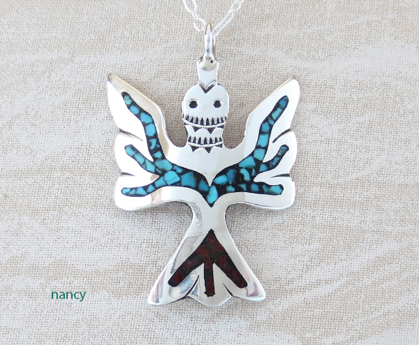 Turquoise & Coral Chip Inlay Peyote Bird Pendant Navajo - 3195sn