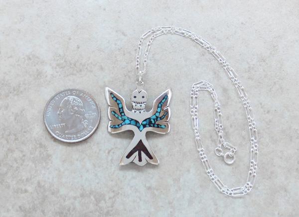Image 1 of   Turquoise & Coral Chip Inlay Peyote Bird Pendant Navajo - 3195sn