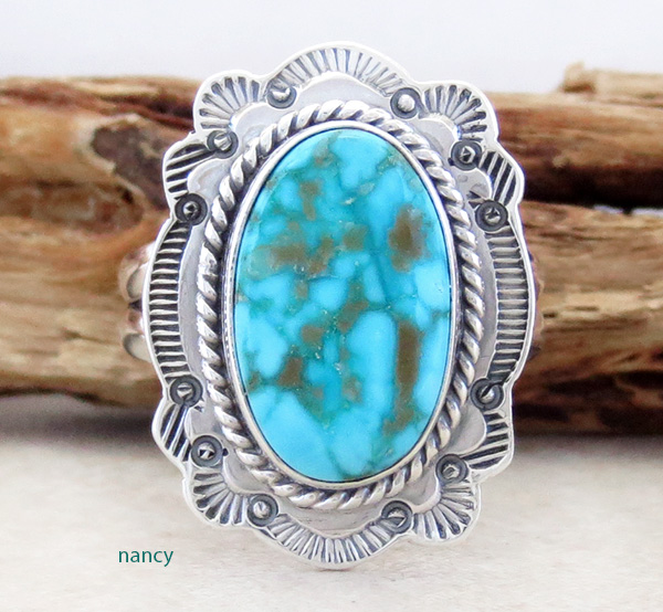Turquoise Mountain Turquoise & Sterling Silver Ring Size 9 Navajo - 2591sn