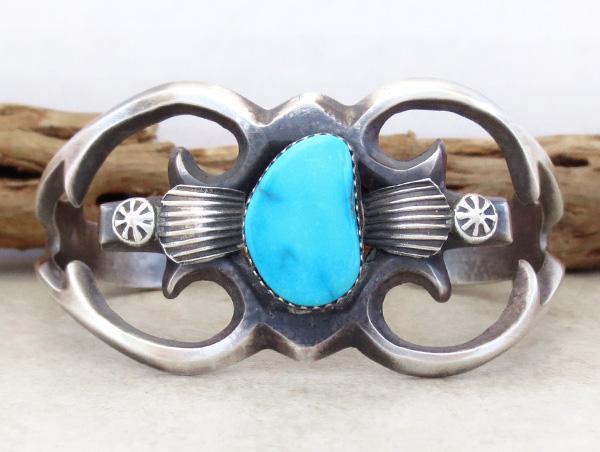 Image 0 of   Sandcast Sterling Silver & Turquoise Bracelet Henry Morgan Navajo - 3534pl