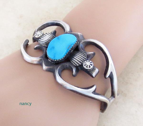 Image 1 of   Sandcast Sterling Silver & Turquoise Bracelet Henry Morgan Navajo - 3534pl