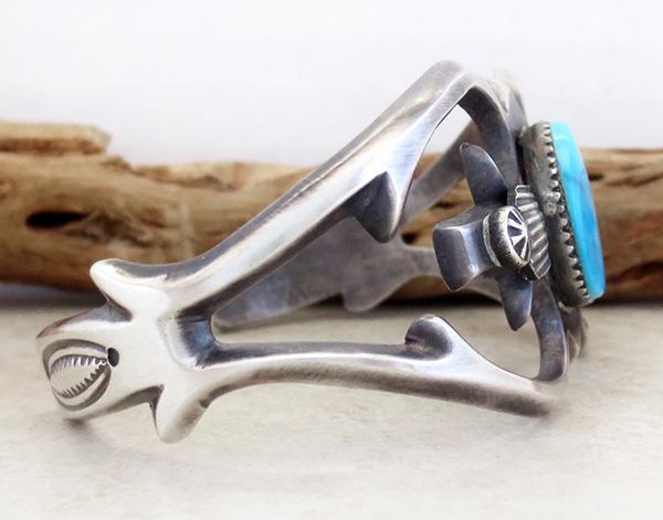 Image 2 of   Sandcast Sterling Silver & Turquoise Bracelet Henry Morgan Navajo - 3534pl