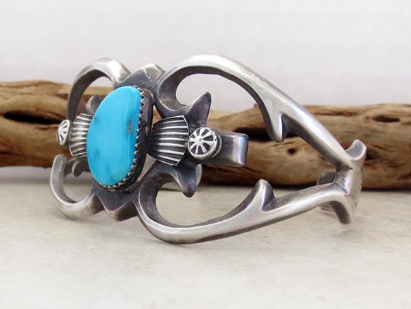 Image 3 of   Sandcast Sterling Silver & Turquoise Bracelet Henry Morgan Navajo - 3534pl