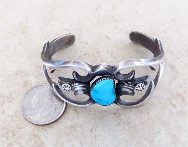 Image 5 of   Sandcast Sterling Silver & Turquoise Bracelet Henry Morgan Navajo - 3534pl
