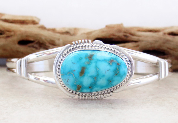 Turquoise & Sterling Silver Bracelet Native American Jewelry - 3536sn